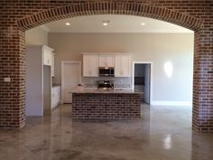 Living Room Decor Fireplace, Home Living Room, Brick Feature Wall, Brick Archway, Hacienda Homes, Brownie Trifle, Rustic Kitchens, New Kitchen, Kitchen Remodel