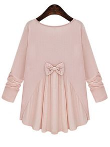 Pink Round Neck Long Sleeve Bow Loose Blouse