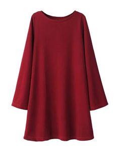 Loose Solid Long Sleeves Mini Dress