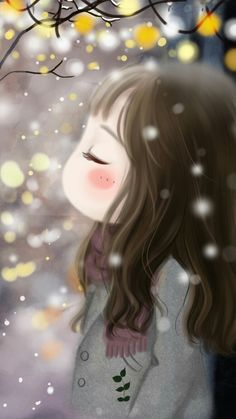 (notitle) - Art, paintings and illustrations. Cute Girl Wallpaper, Kawaii Wallpaper, Iphone 6 Plus Wallpaper, Girly Drawings, Chibi Girl, Beautiful Anime Girl, Cute Chibi, Cute Cartoon Wallpapers, Whimsical Art