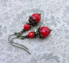 Victorian Earrings Red Earrings Dark Red Earrings by SmockandStone