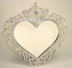 Heart Shape Silver Crown Mirror with Crown Design on Chiq  $20.00 http://www.chiq.com/heart-shape-silver-crown-mirror-crown-design