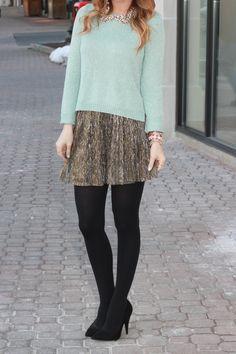 Mint Sweater // Metallic Skirt // Mint sweater, grey skirt, tights.