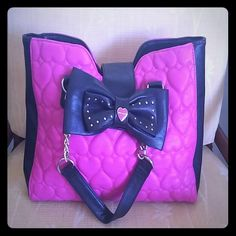 Betsey Bag Betsey pink bag with black bow Betsey Johnson Bags Totes