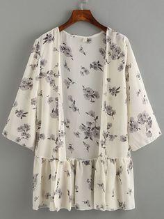 Kimono trim ruffle flower chiffon- (Sheinside) Source by Pequetiti Chemise Fashion, Kimono Fashion, Hijab Fashion, Girl Fashion, Fashion Dresses, Womens Fashion, Kimono Outfit, Kimono Cardigan, Floral Fashion