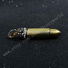 Handmade Short Bullet Plated Copper Pendant Bead by Druzyworld