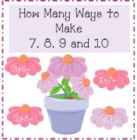 Free!! Ways to make 7, 8, 9, & 10... Flower theme...could modify to use for speech.