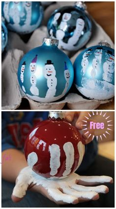 Christmas Craft: Kids Handprint Snowman Ornament DIY Tutorials crafts for kids for teens to make ideas crafts crafts Kids Christmas Ornaments, Christmas Crafts For Kids To Make, Preschool Christmas, Xmas Crafts, Diy Christmas Gifts, Kids Ornament, Snowman Christmas Ornaments, Snowman Crafts, Hand Print Ornament