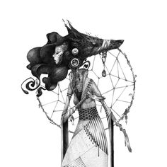 Moon is a French illustrator and graphic designer whose drawings devise a mysterious mythology of their own. Illustration Sketches, Character Illustration, Art Sketches, Art Drawings, Vektor Muster, Moon Dreamcatcher, Psy Art, My Art Studio, Design Graphique