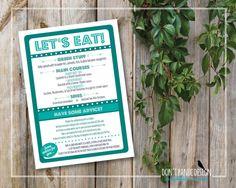 Printable Wedding Menu - Modern, Fun, Teal Dinner Menu - Eat Drink Marry/Merry Dinner Menu - Wedding Advice Card - Custom Colors