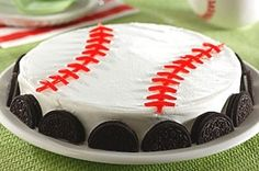 Softball/Baseball Oreo Cake. I could do this, use pull-n-peel twizzlers for the stitches.