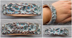 Anna Anpilogova - Carved bracelet - layered clay is carved back after curing, using wood-carving knives