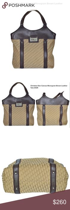 Christian Dior Canvas Monogram Brown Leather Purse Height with strap Width  Depth In excellent condition no flows to note beside some signs of used  Dior Bags ... e10d93507e150