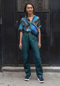 """NYC Looks--street style--Isabel, 24 """"I am wearing thrifted clothes from The Philippines which is where I'm from. I am inspired by the people I see around me and the strange things I can find in the Philippines, and I like clothes that are functional and aesthetically pleasing at the same time."""" May 23, 2017 ∙ Little Italy"""