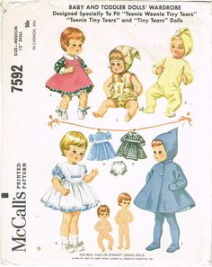 1960s Vintage McCalls Sewing Pattern 7592 Teenie Tiny Tears 12 Inch Doll Clothes