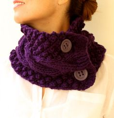 FREE SHIPPING Purple Neck Warmer Chunky Scarf  Knit Cowl Plum Aubergine Cable  With Buttons
