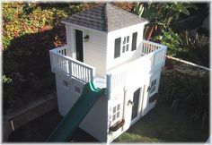 swingset project doubledecker playhouse with widow's walk and slide