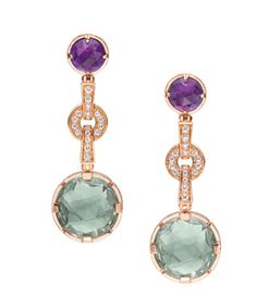 Bulgari Parentesi Collection - Parentesi cocktail white gold long earrings with amethyst, blue topaz and pave diamonds- Dangling earrings have been en vogue. Expect to get a lot of wear from this colorful pair. Its different colors make it so easy to match with any ensemble.  How much? HK $62,100
