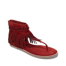 "Diego Di Lucca ""Dano"" Sandal with Fringe Ankle Wrap"