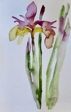 """Purple Iris Floral 0282"" original fine art by Michelina Frey"