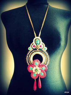Soutache pendant/necklace by AkoyaBozenaKorwat on Etsy