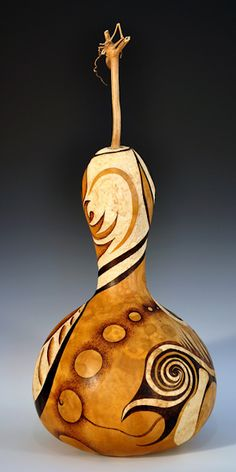 Woodburned Gourd