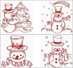 """Redwork Snowmen"" Here are 10 *cOoL* snowmen, with great details, yet they stitch up quick as a flash because they're #redworkembroidery! Just the thing for a hectic holiday season! From juggling snowballs, to decorating the Christmas tree. For 4x4 #machineembroidery hoops."