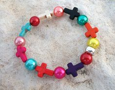 Multi Colored Howlite Stone Tiny Crosses with Multi by MountainM, $6.00 Crosses, Beaded Bracelets, Stone, Trending Outfits, Unique Jewelry, Handmade Gifts, Etsy, Vintage, Projects