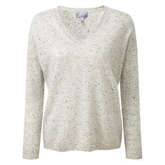 Buy Pure Collection Fernanda Cashmere Jumper, Heather Grey Fleck Online at…