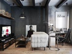 Salon negro e industrial