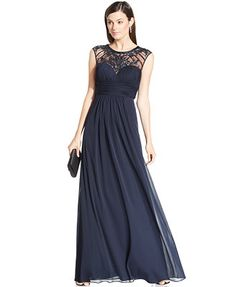 Xscape Embellished Illusion Panel Gown