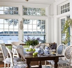 Blue and white luxury kitchens are a classic favorite. See some beautiful examples on Hadley Court! Blue and white luxury kitchens are a classic favorite. See some beautiful examples, today, on Hadley Court! Sunroom Decorating, Decorating Ideas, Enchanted Home, Luxury Kitchens, White Kitchens, Outdoor Kitchens, White Decor, Coastal Living, Coastal Decor