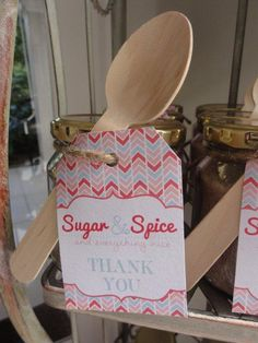 Cinnamon and Sugar favours for Sugar and spice baby shower