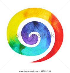 7 color of chakra symbol spiral concept, watercolor painting hand drawn icon logo, illustration design sign