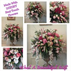 Floral Arrangement, XL Luxury Floral Centerpiece, SHIPPING INCLUDED, Elegant Designer Spring Summer Pastel Foyer,Dining, Wedding Floral by GiftsByWhatABeautifu on Etsy