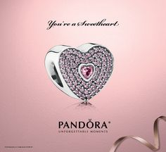 "You're a sweetheart! It'll be love at first sight when you see PANDORA's new .925 sterling silver ""sweetheart"" charm. Its heart-shaped design and cubic zirconia accents will create a sweet addition to any bracelet. Starting January 15, this new charm will come in an exclusive PANDORA heart-shaped gift box. While supplies last! Promotion ends February 15, 2014. Contact our store for more details."