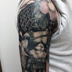 Incredible painted and colored large shoulder tattoo of gladiator warrior