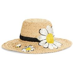 Kate Spade New York Daisy Sun Hat ($118) ❤ liked on Polyvore featuring accessories, hats, natural, floppy brim hat, brim sun hat, kate spade hat, beach hat and brimmed hat