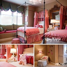 What a cute pink little girls room! I always wanted a canopy bed when I was a girl. Bella will have one when shes a little older!