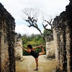 Yoga on top of a temple at the Tikal Maya Ruins. http://www.kaanabelize.com/blog/index.php/2014/09/06/wishyouwerehere-your-snapshots-from-belize/ #xoBelize