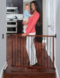 Designer Angle Mount Wood Safeway Baby/pet Gate - Cherry Finish