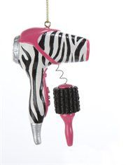 Tween Christmas Pink & #ZebraPrint Blow Dryer & Hair Brush #Ornament - Someday you'll have the bathroom back... but treasure the chaos while it lasts.