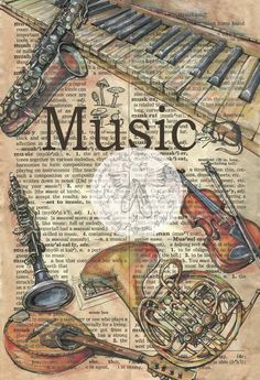 "PRINT: ""Music"" Mixed Media Drawing on Antique Dictionary Page by FlyingshoesStudio. mixed media, PRINT: Music Mixed Media Drawing on Antique Dictionary Page Newspaper Art, Book Page Art, Dictionary Art, Music Mix, Shoe Art, Medium Art, Clipart, Mixed Media Art, Art Drawings"