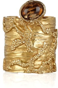 Yves Saint Laurent Arty gold-plated glass cuff - so striking, perfect with an all black ensemble