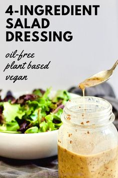 Oil-free Honey Mustard Salad Dressing (only 4 ingredients!) - Just 4 ingredients, this oil-free salad dressing recipe transforms your greens or pasta salad from - Fat Free Salad Dressing Recipe, Low Fat Salad Dressing, Honey Mustard Salad Dressing, Fat Free Recipes, Low Fat Vegan Recipes, Meatless Recipes, Fat Free Vegan, 4 Ingredients, Vegan Options