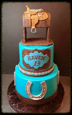Western themed birthday cake with hand sculpted fondant saddle topper.
