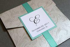 Silver Damask Square Pocket Invitation $3.75 wedding invitation