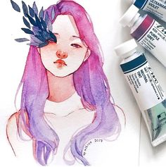 purple grey to ultramarine violet gradient is so pretty (also it was my first time using these colors and I absolutely love it! Art And Illustration, Watercolor Illustration, Watercolor Paintings, Gouache Painting, Watercolour, Illustrations, Kunst Inspo, Art Inspo, Amazing Drawings