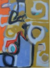 """Price: $1,800  Rhapsody in Movement 1 2012  Acrylic, Oil Stick and Oil Base Spray Paint on Canvas, 30"""" x 40""""  Estimated Value: 3,000   Contact: charlotte@rushartsgallery.org"""