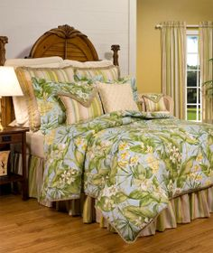 A tropical bedding collection in hues of sky blue and leaf green, Paradise Point duvet cover will transform any bedroom into a Hawaiian island oasis. Coordinating accessories and window treatments complete the look. Made in the USA. Comfy Bedroom, Bedroom Bed, Dream Bedroom, Comforter Cover, Comforter Sets, Floral Comforter, King Comforter, Duvet Covers, Home Furnishing Stores